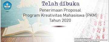 Pendaftaran Program Kreativitas Mahasiswa (PKM) Tahun 2020