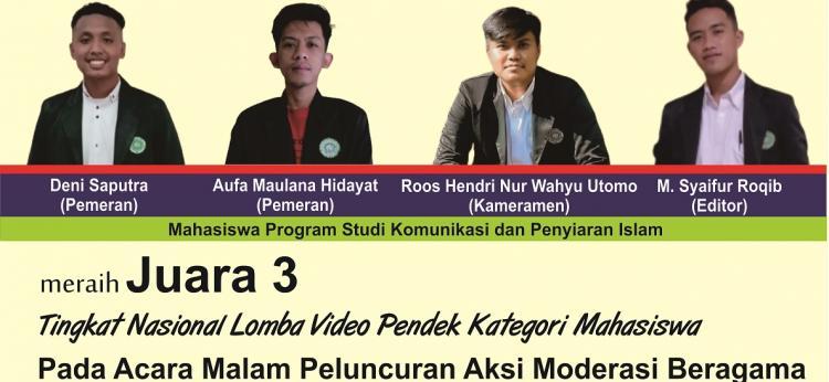 Mahasiswa KPI Raih Juara 3 Lomba Video Pendek Tingkat Nasional